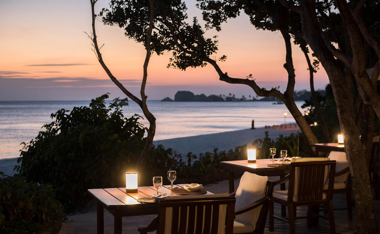Amanpulo, Philippines- Dining, The restaurant, dinner, Beach, View
