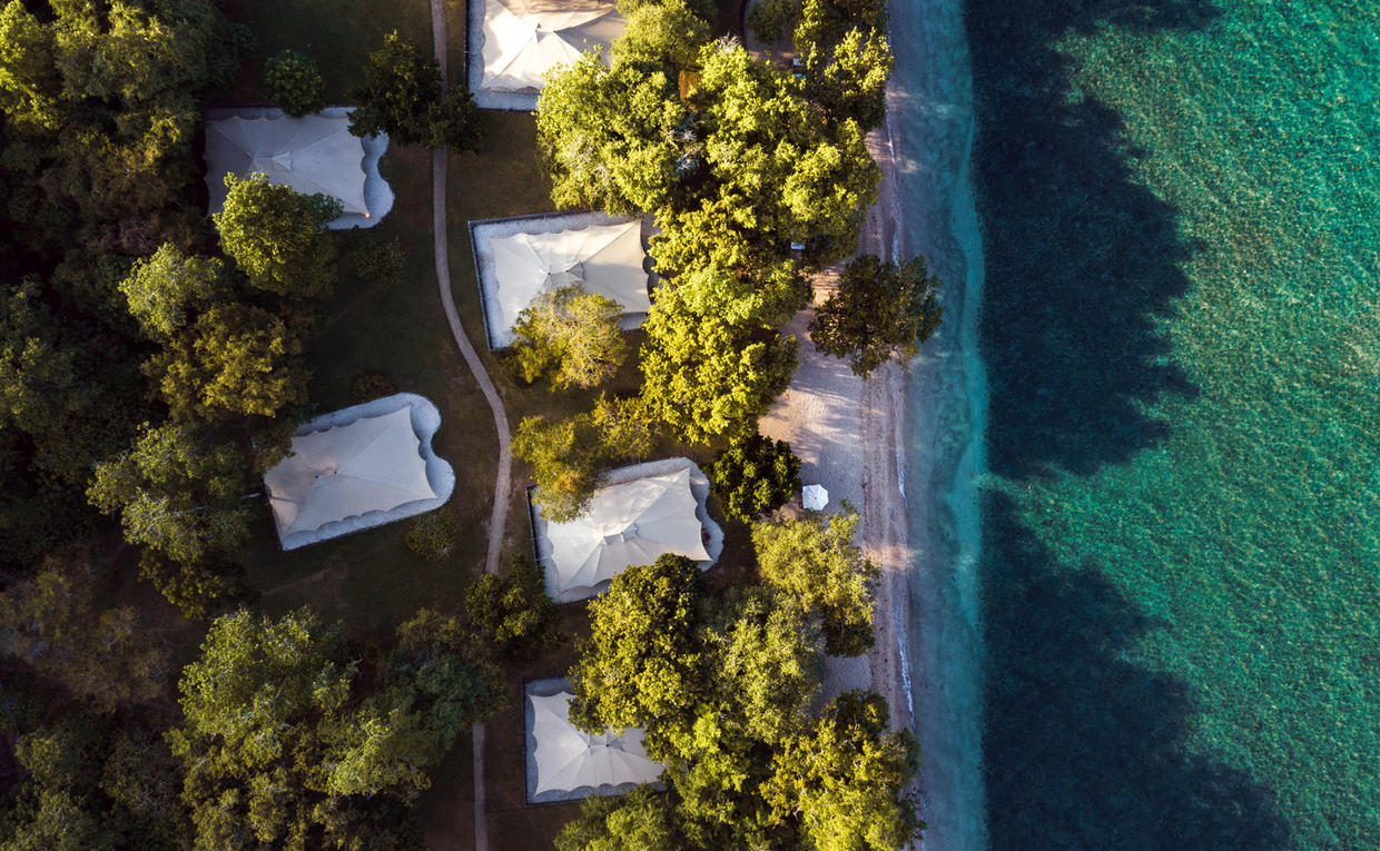 Amanwana, Indonesia - Aerial Shot - Resort, Tents, Beach