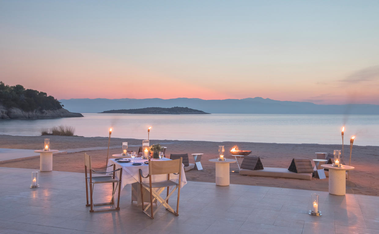 Sunset Dining at the Beach Club, Amanzoe, Greece