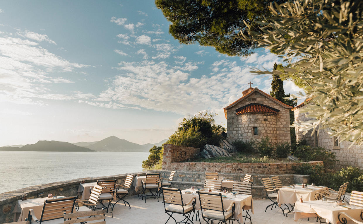 The Piazza, Dining at Aman Sveti Stefan, Montenegro