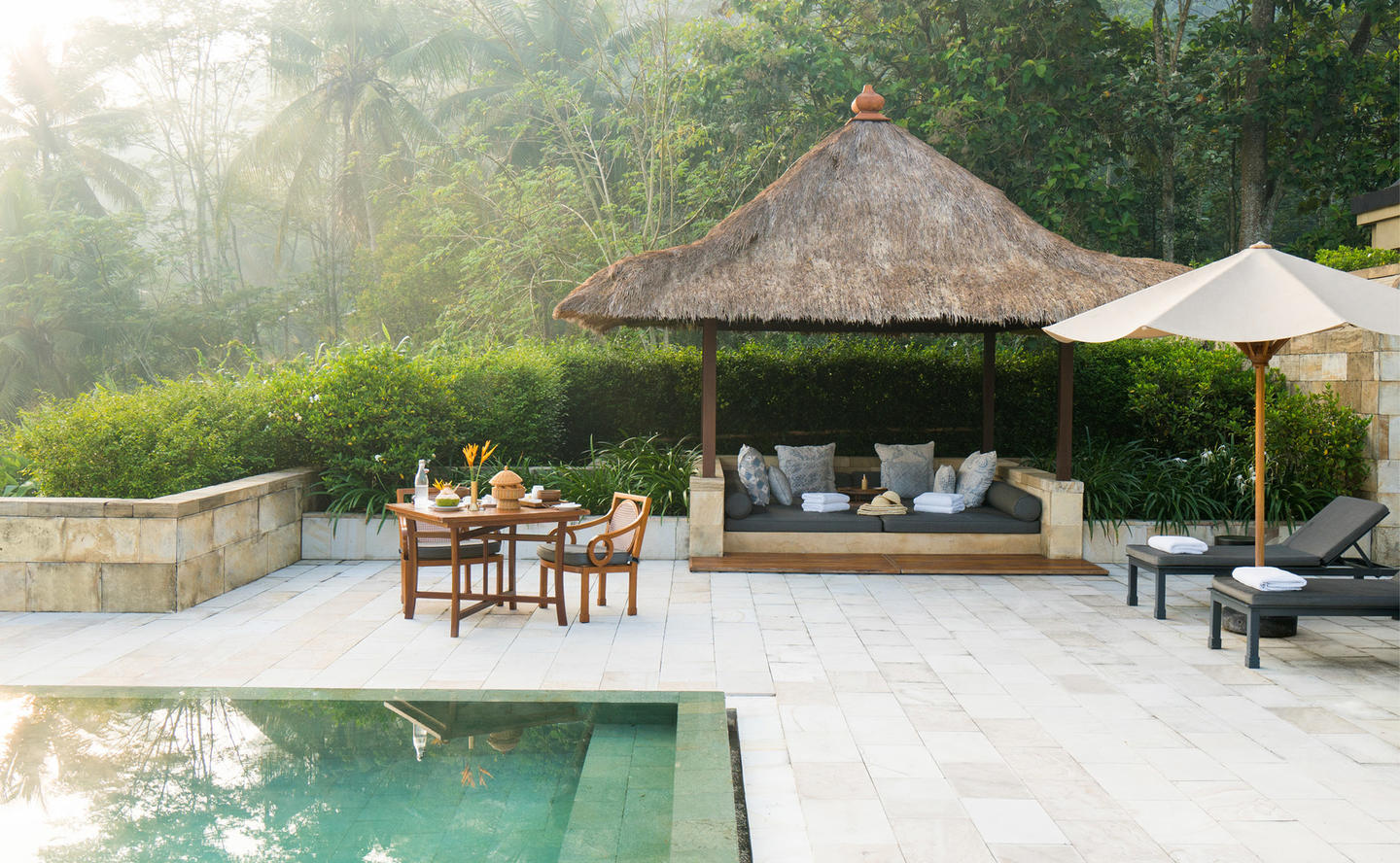 Poolside Relaxation Area, Dalem Jiwo Suite - Amanjiwo, Java, Indonesia