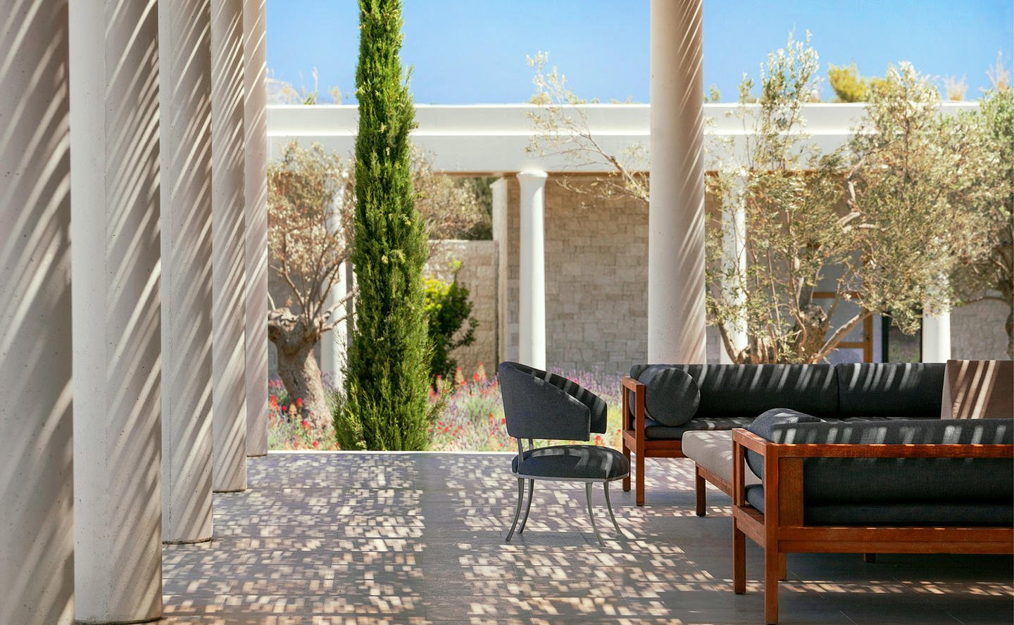 Outdoor Living Area, Six-Bedroom Villa - Amanzoe, Greece