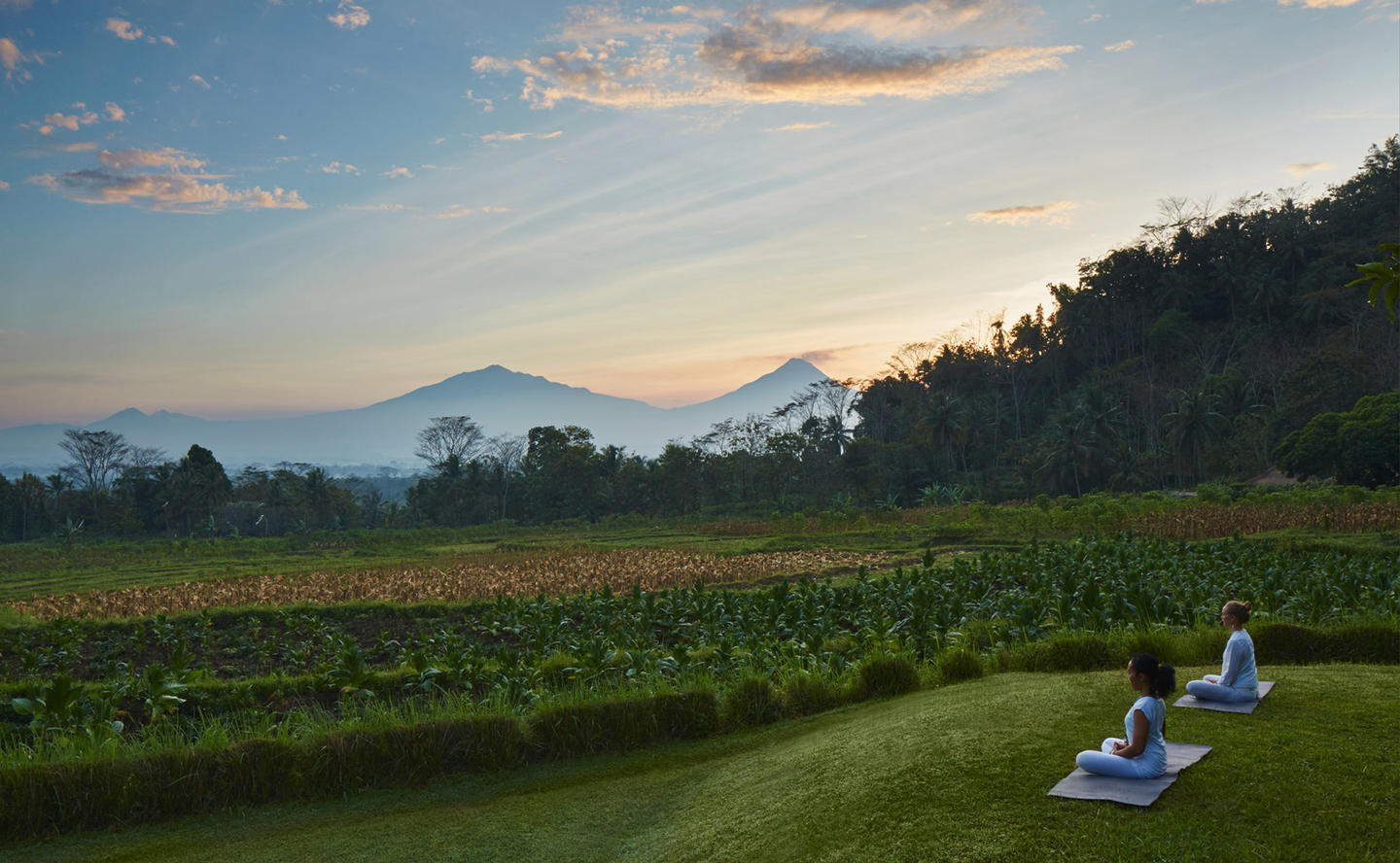 Amanjiwo, Indonesia - Rice fields, Outdoor Yoga