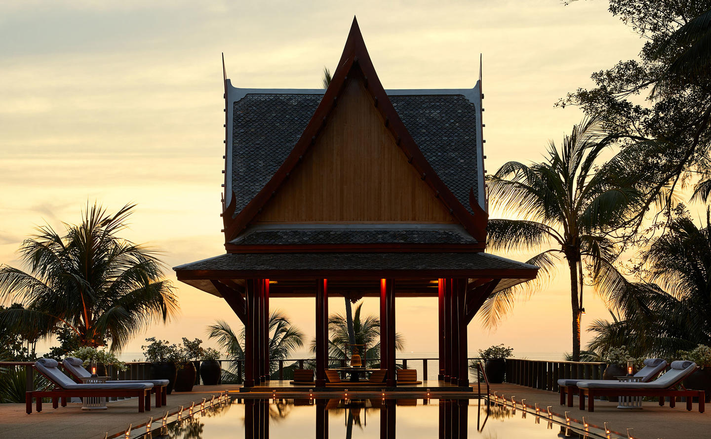 Swimming Pool at Sunset, Four-Bedroom Ocean Villa, Amanpuri, Thailand