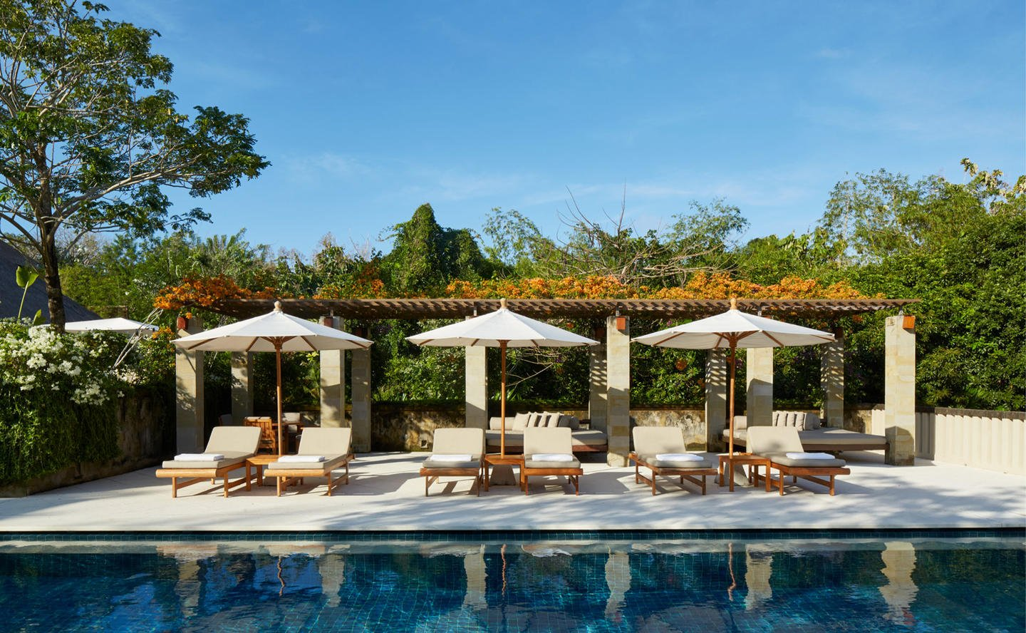 Sun Loungers by Swimming Pool, Four-Bedroom Villa - Aman Villas at Nusa Dua, Bali
