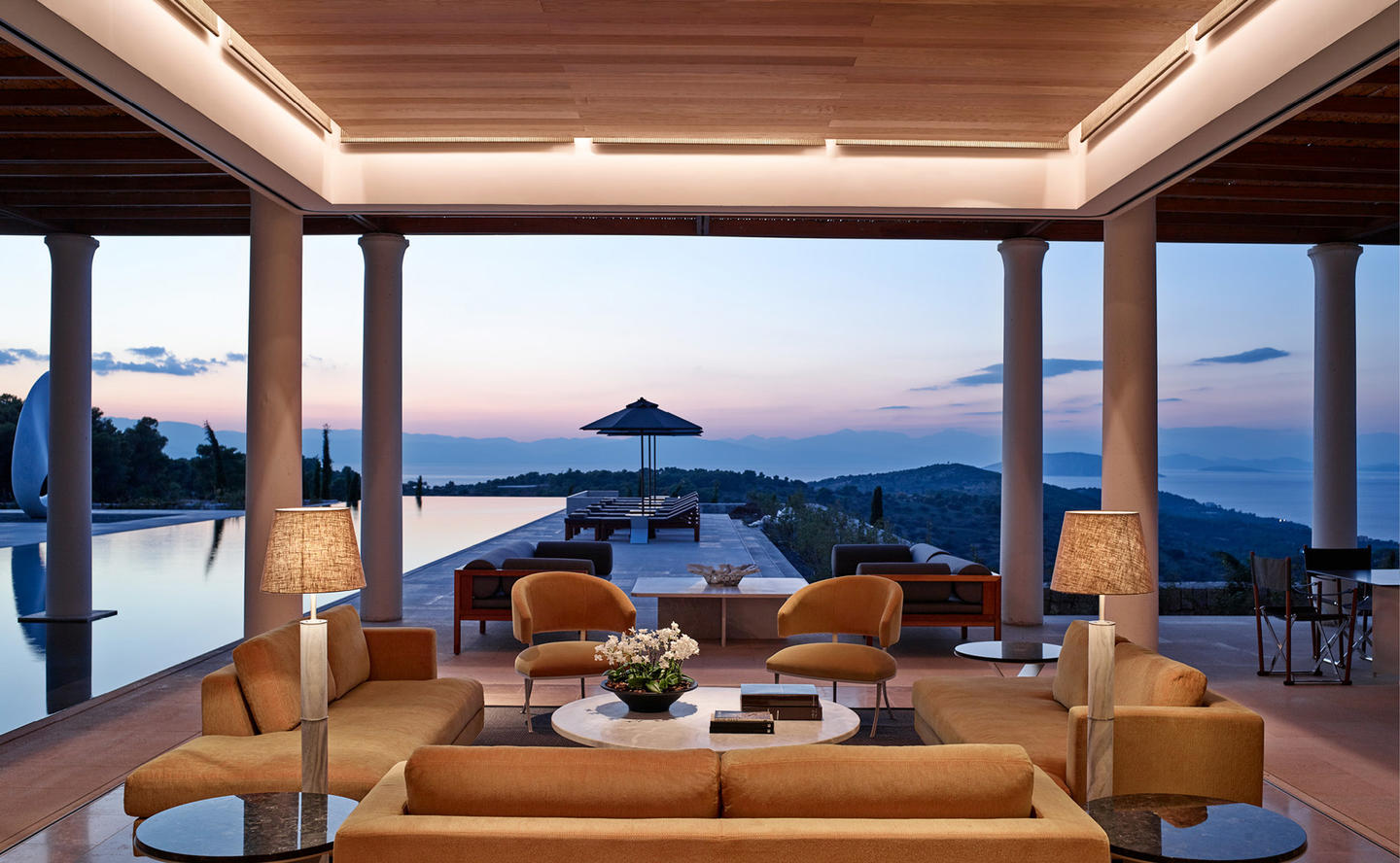 Outdoor Living Area Next to Swimming Pool, Villa 20 - Amanzoe, Greece