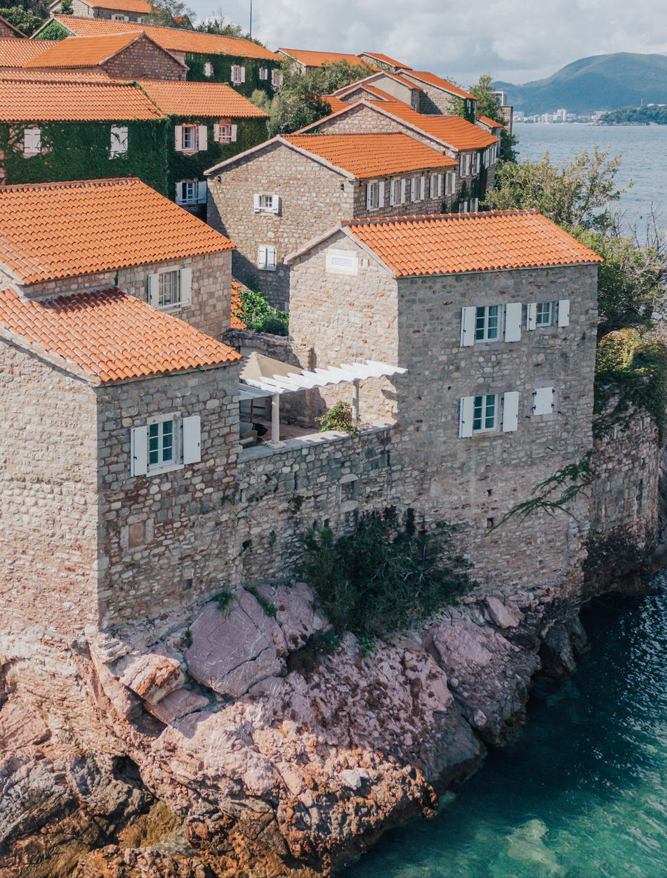 Exterior Aerial View, Three-Bedroom Village Cottage, Aman Sveti Stefan, Montenegro