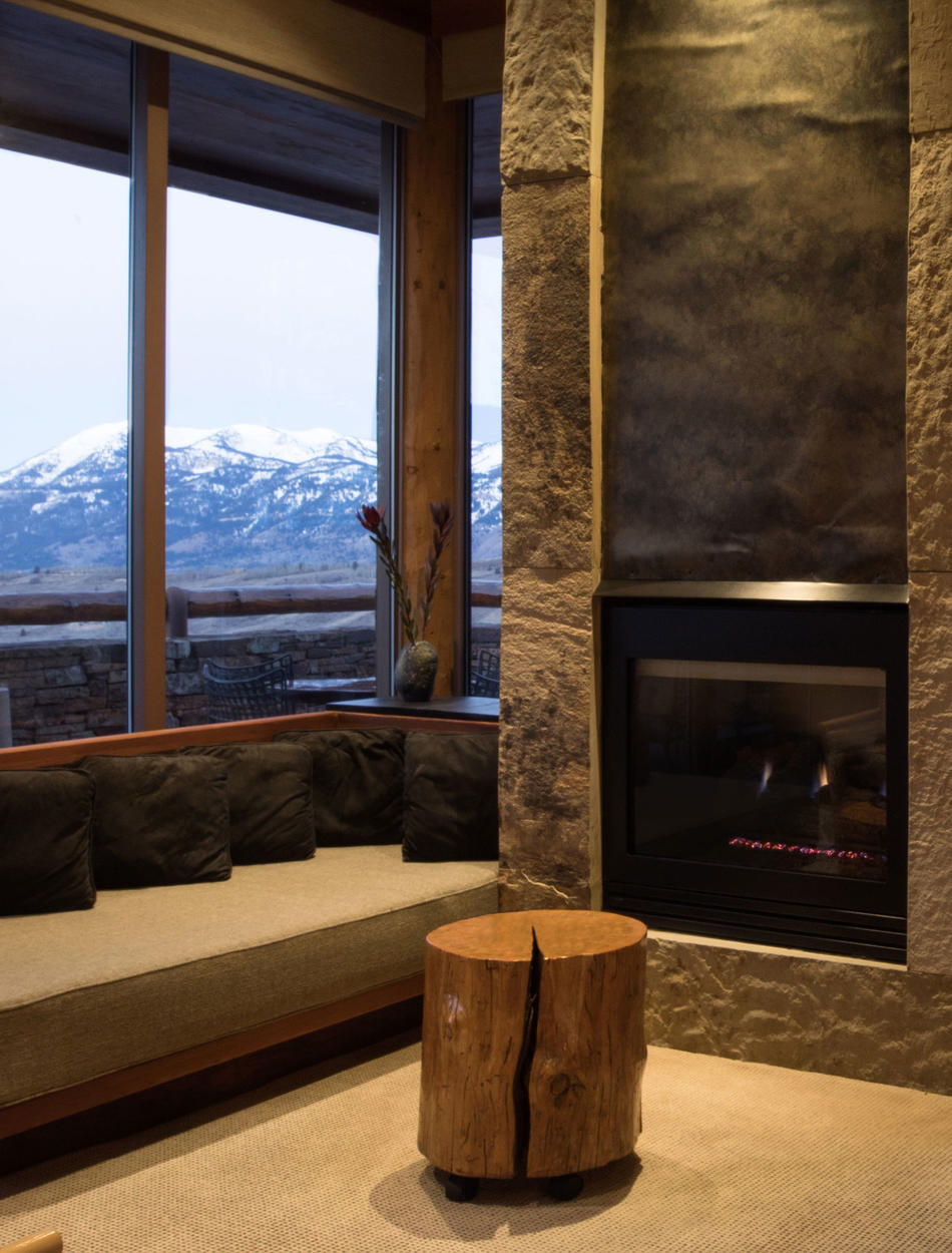 Fireplace in Living Area, Shoshone Suite - Amangani, Wyoming, USA